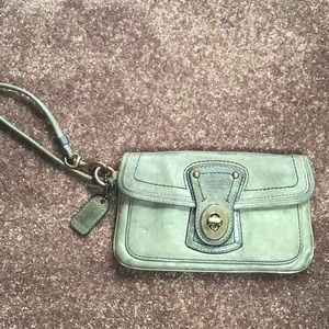 Coach grey leather wristlet with legacy lining